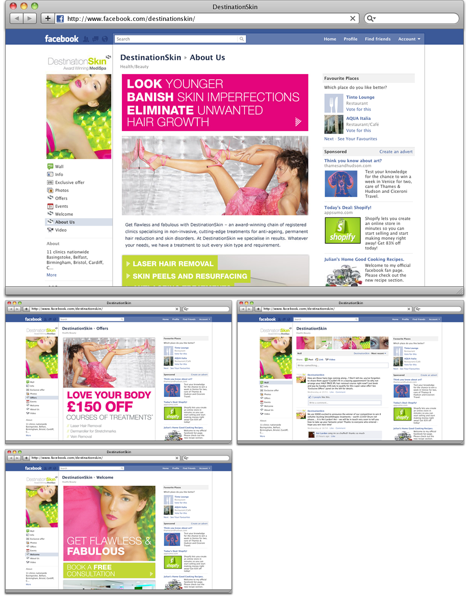 DestinationSkin Facebook pages